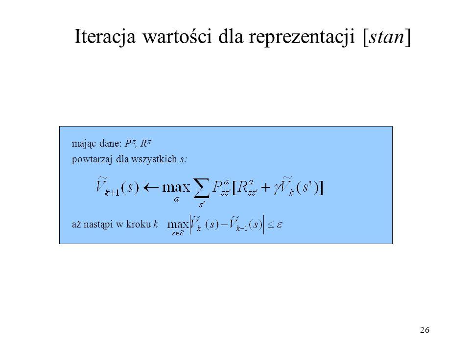 Iteracja wartości dla reprezentacji [stan]